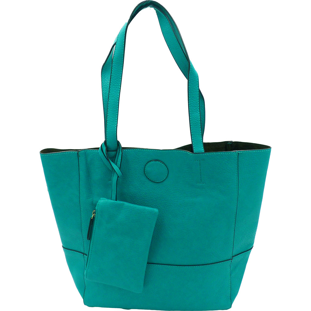 Raw Edge Tote Handbag With Coinpurse - Turquoise