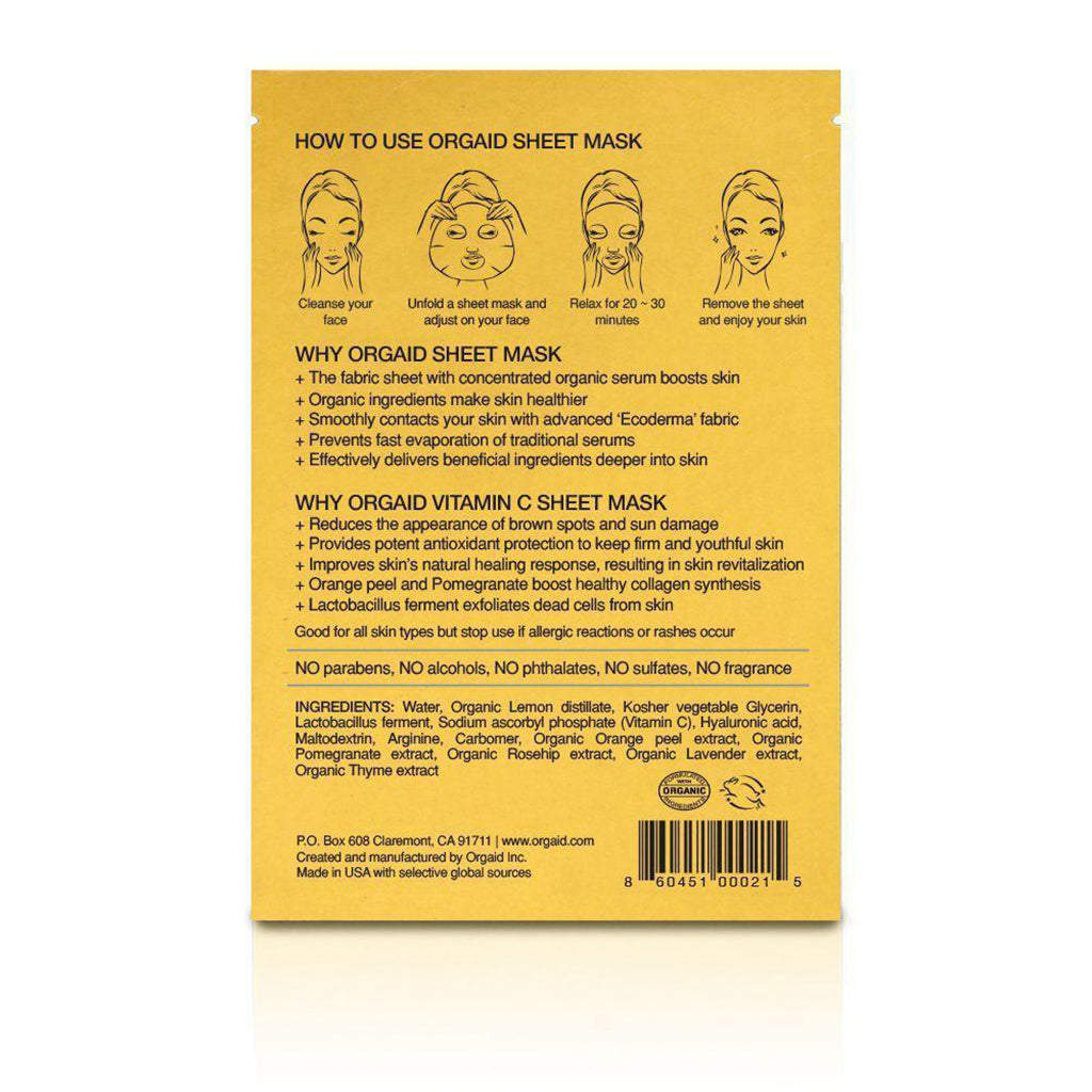 Vitamin C & Revitalizing Organic Sheet Mask - 4 Pack-Orgaid-Live in the Light
