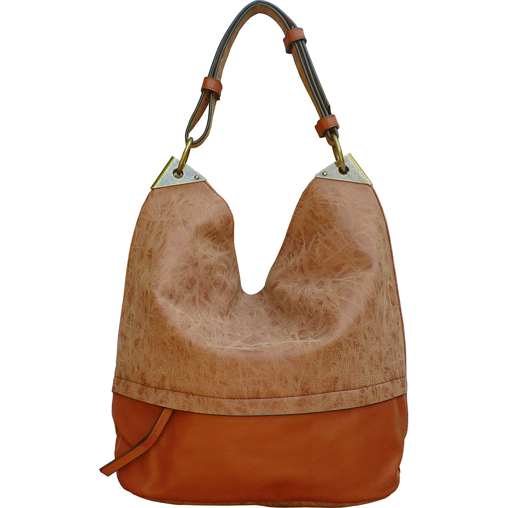 Sienna Bucket Handbag with Distressed Trim - Whiskey