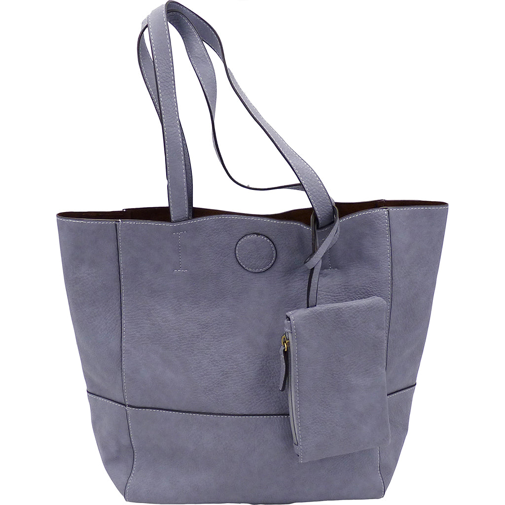 Raw Edge Tote Handbag With Coinpurse - Wisteria