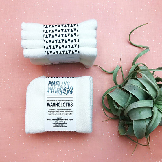 4 Bamboo Wash Cloths by Marley's Monsters