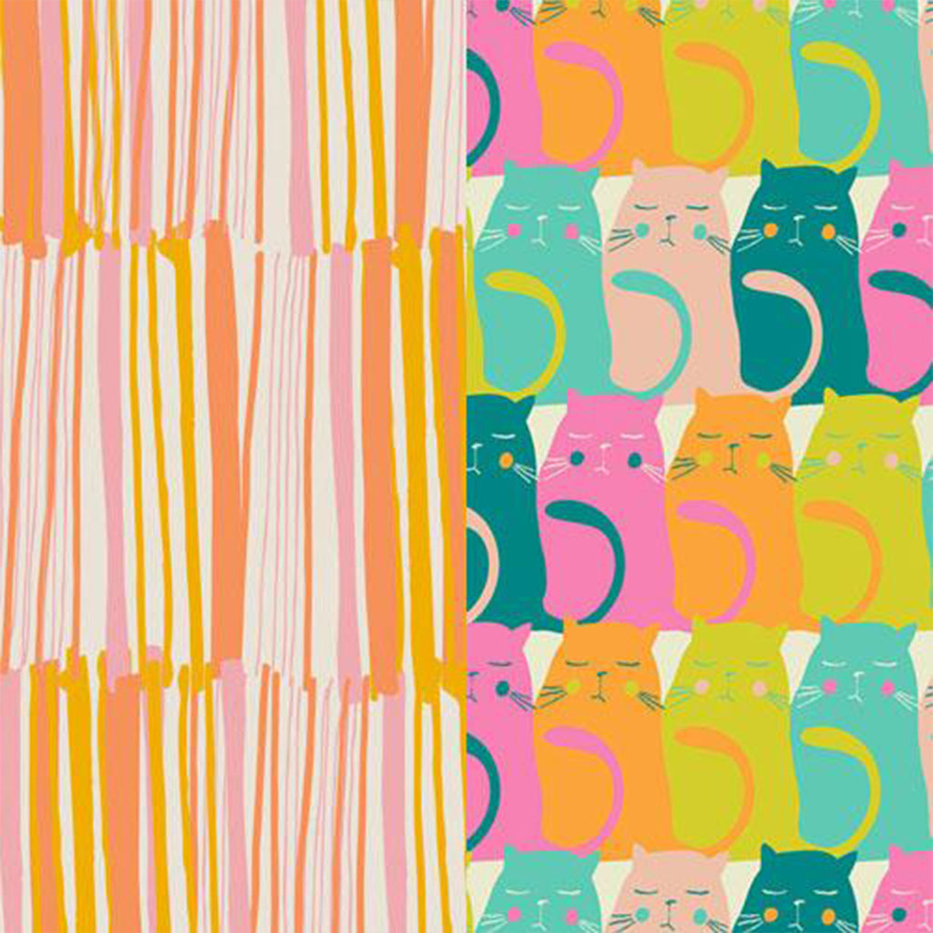 Face Mask - with Ear Loops. Colourful Kitties & Sherbert Stripe by Marley's Monsters