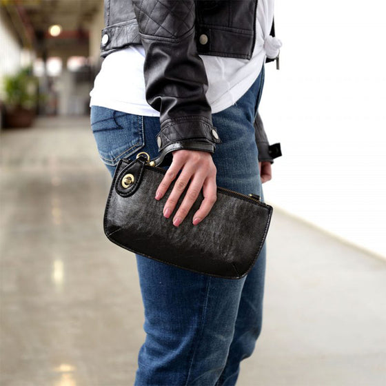 Lustre Lux Cross Body Wristlet Clutch - Gunmetal