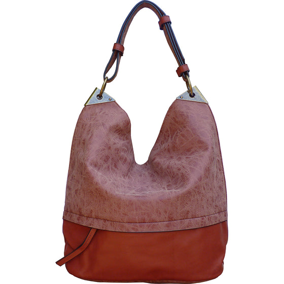 Sienna Bucket Handbag with Distressed Trim - Pink