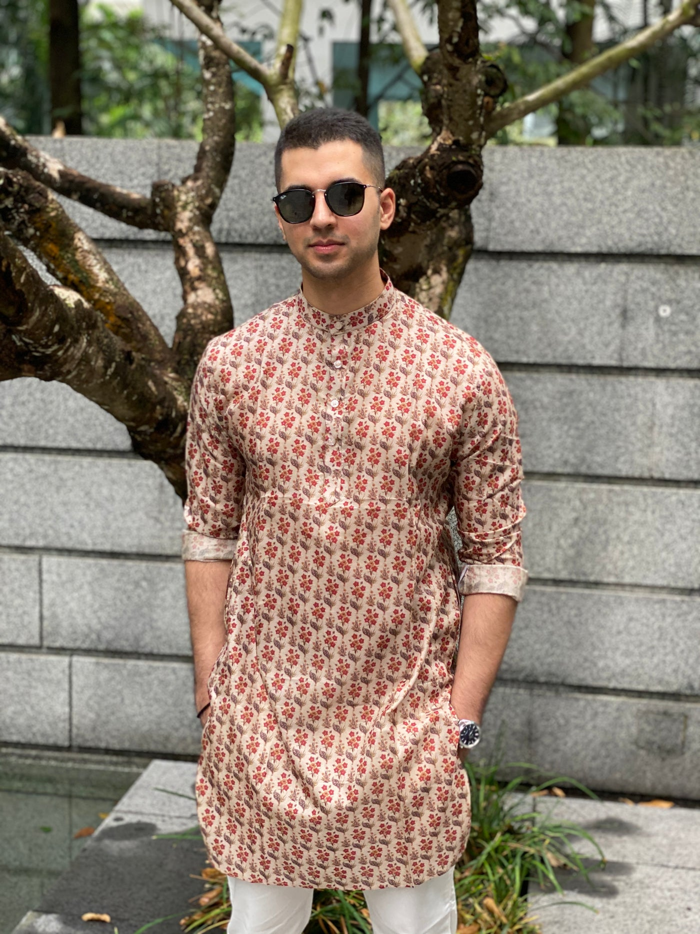 Cotton Silk Kurta with All over Floral Motifs and white pajama set