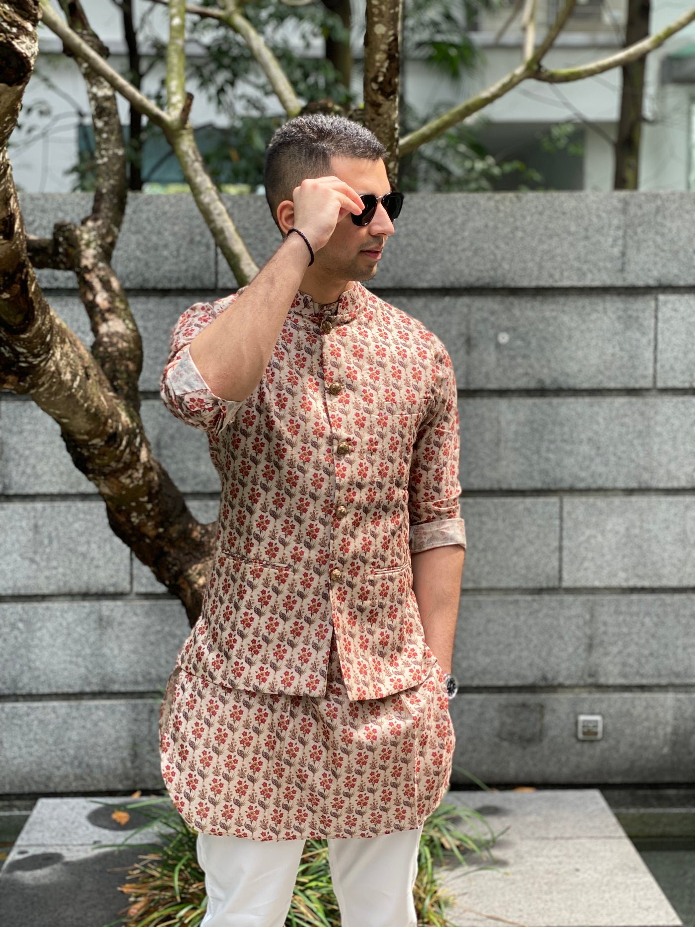 Silk Bandi with All over Floral Motifs with matching kurta and white pajama set