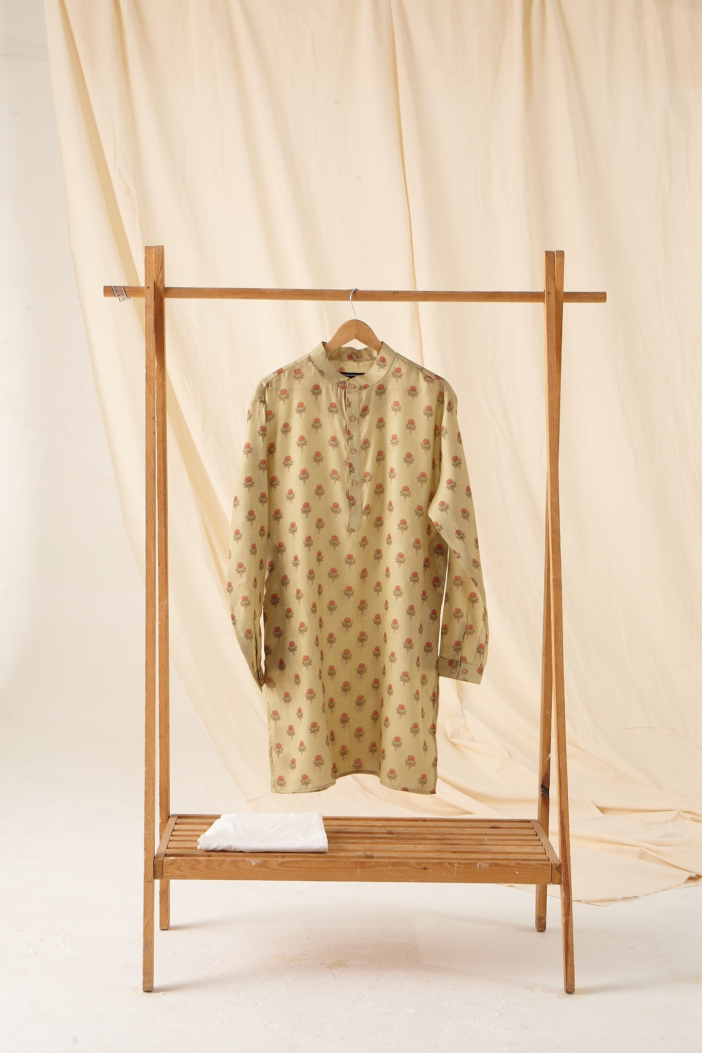 The Mellow Green Flora-Motif Silk Kurta Pajama Set