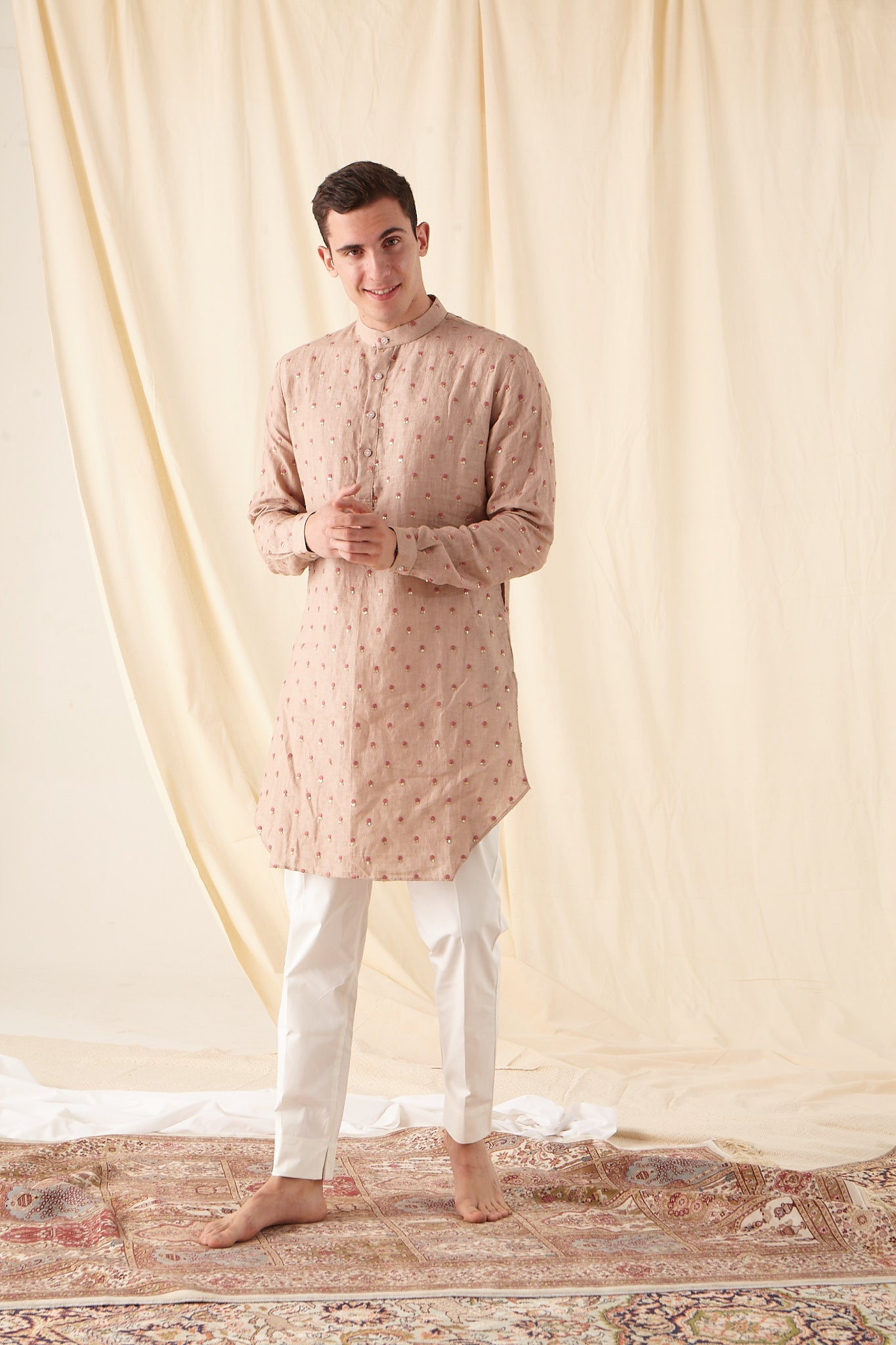 The Easy Breezy Linen Kurta Pajama Set in Salmon