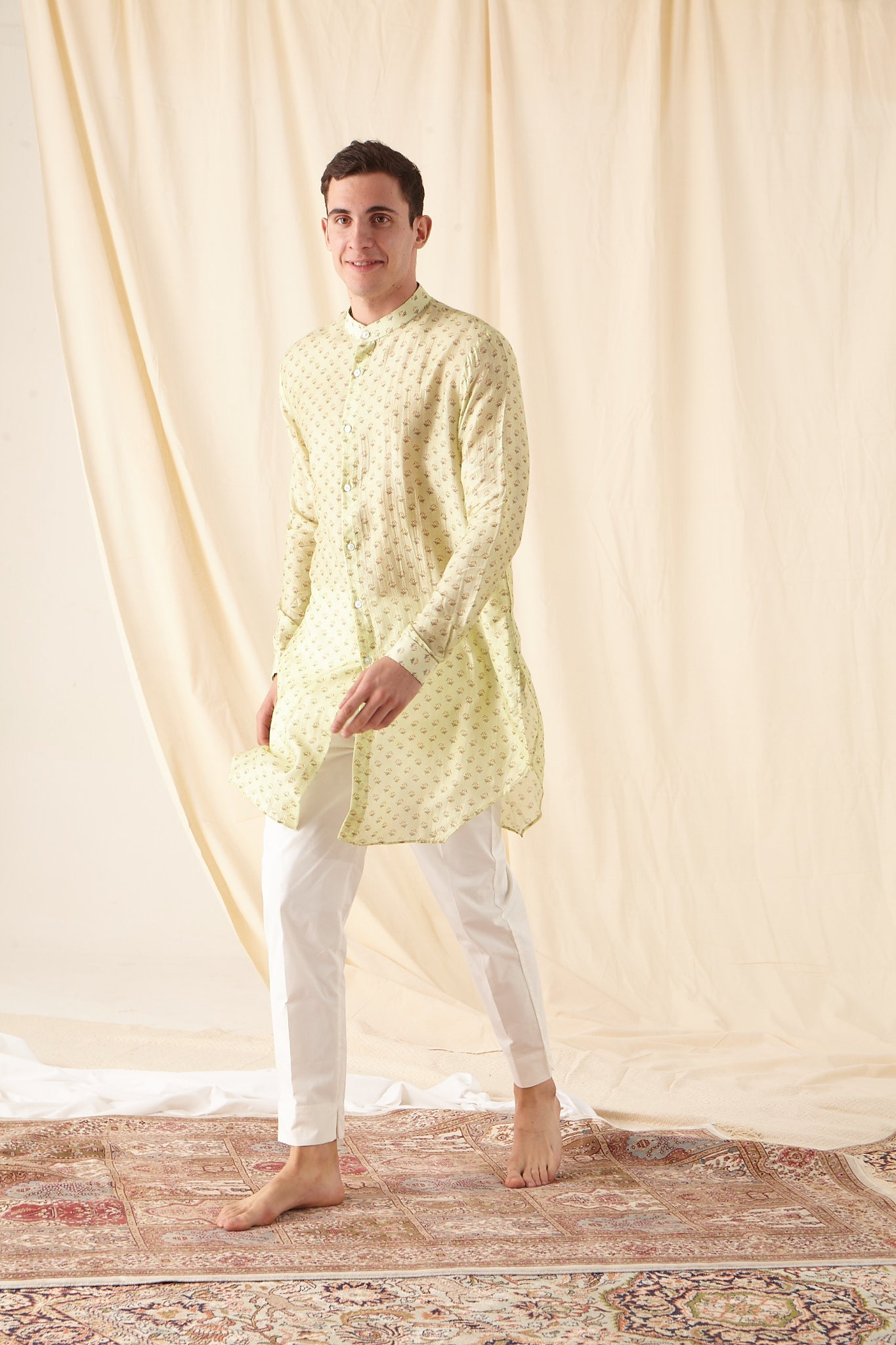The Lime Bageecha Cotton Kurta Pajama Set