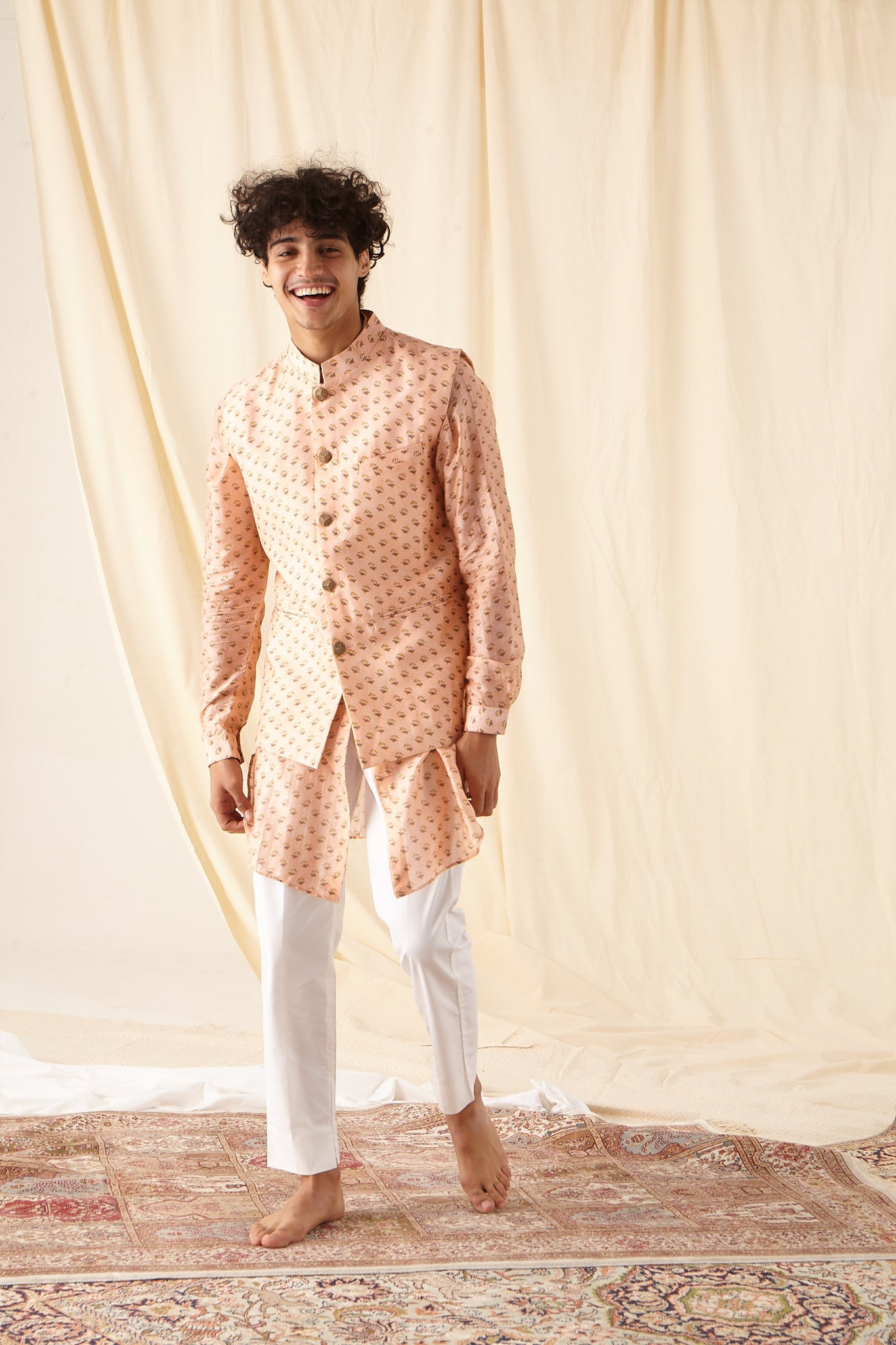 The Peach Bageecha Cotton Kurta Pajama Set with matching Bandi
