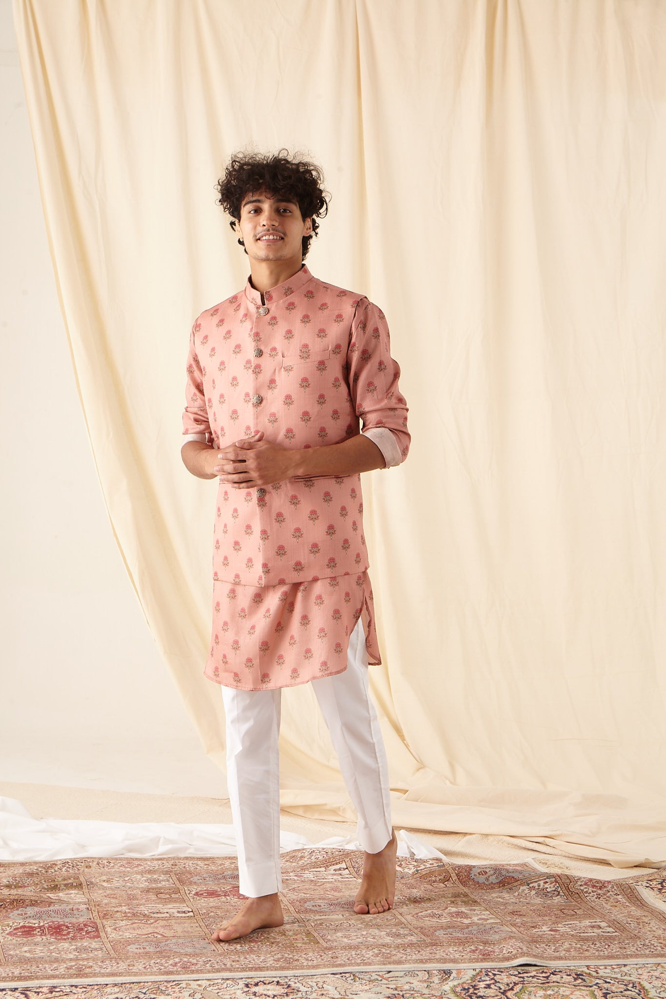 The Salmon Flora-Motif Silk Kurta Pajama Set with matching Bandi
