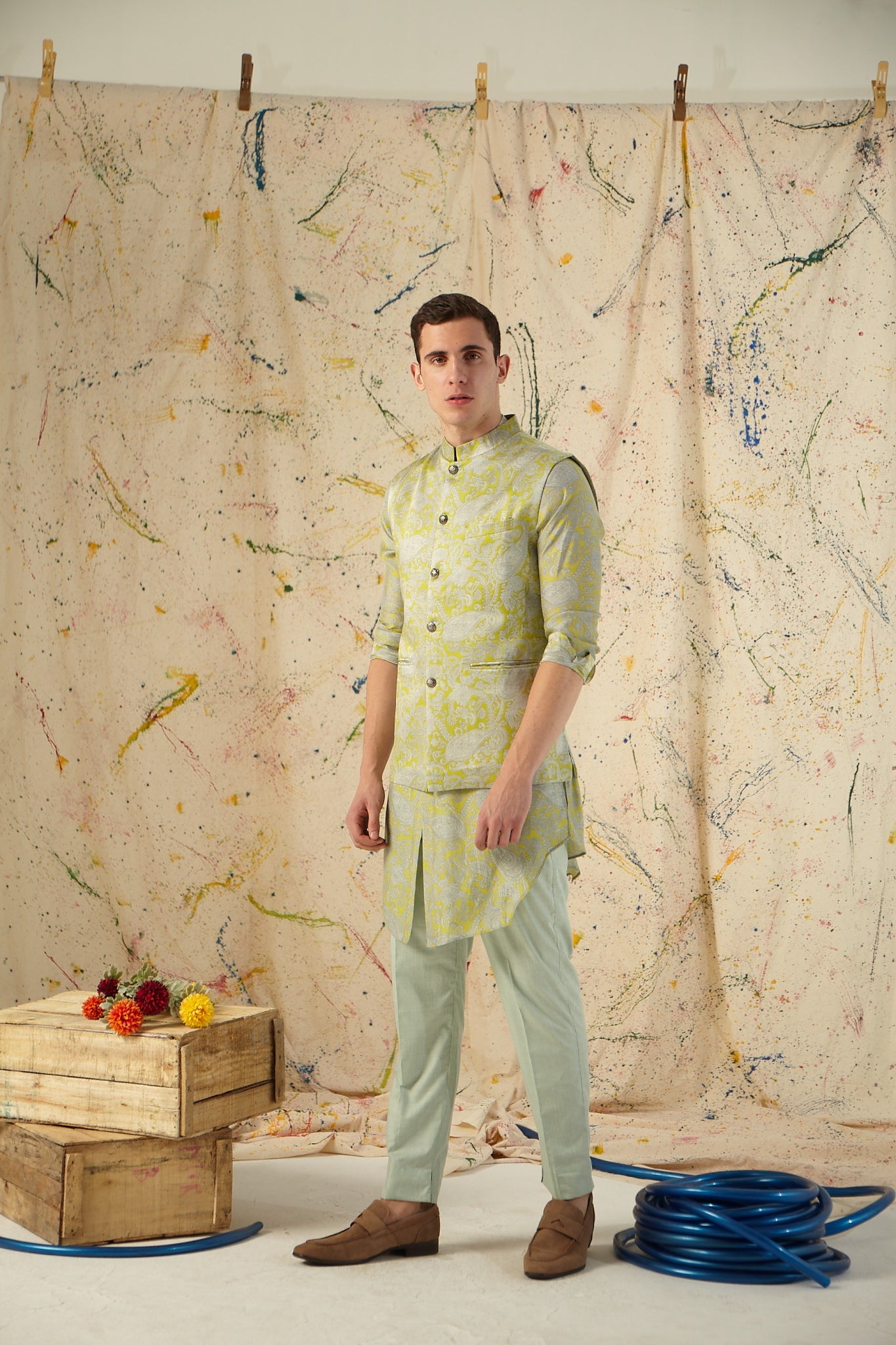 The Lime Power Paisley Cotton-Silk Kurta Pajama Set with matching Bandi