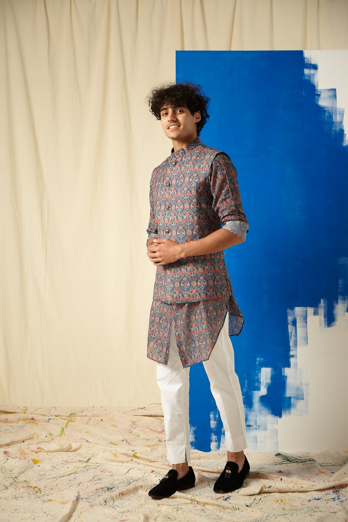 The Garden of Sin Cotton Kurta Pajama Set with matching Bandi