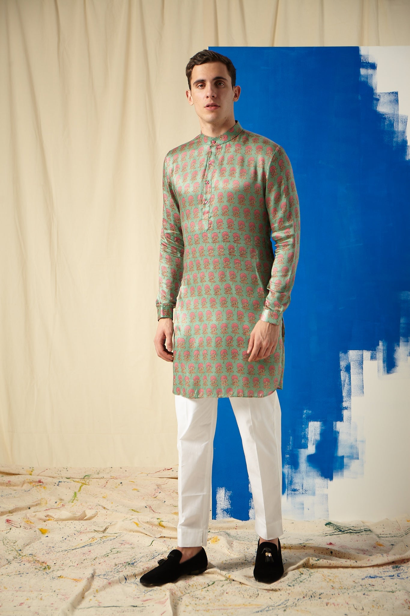The Green Cotton-Silk Kurta Pajama Set with pink floral butis