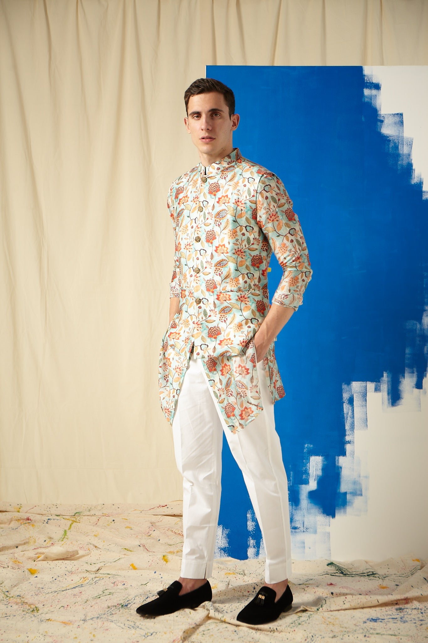 The Caribbean Cotton Kurta Pajama Set with matching Bandi
