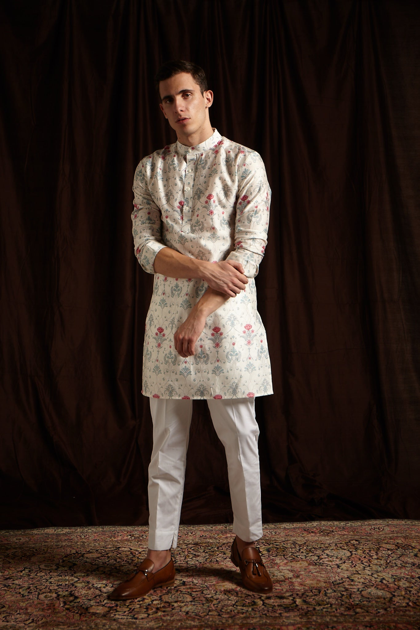The Greenhouse Mal Cotton Kurta Pajama Set in Moody Blue and Pink