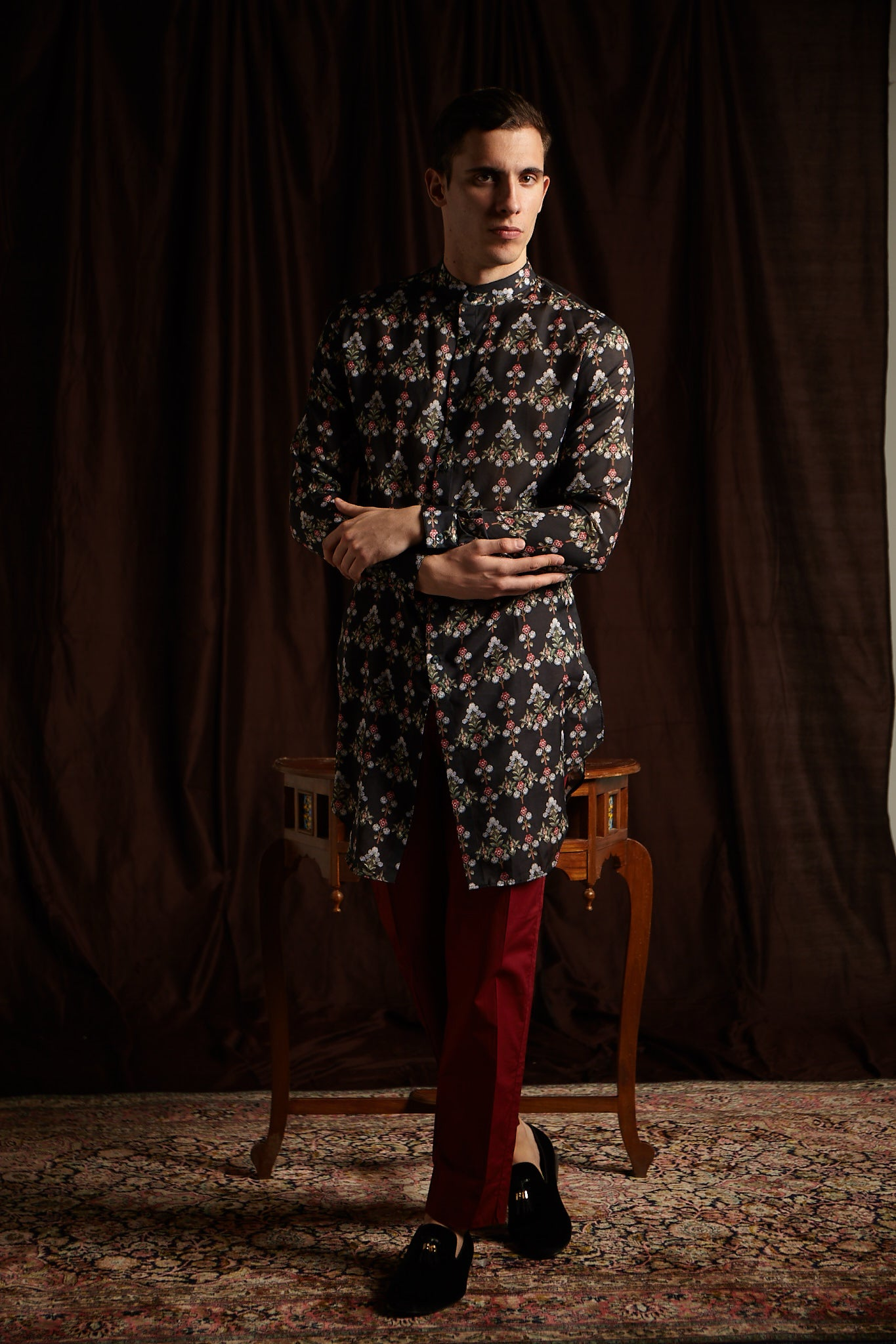 The Moonflower Cotton Kurta with Berry Pajama Set