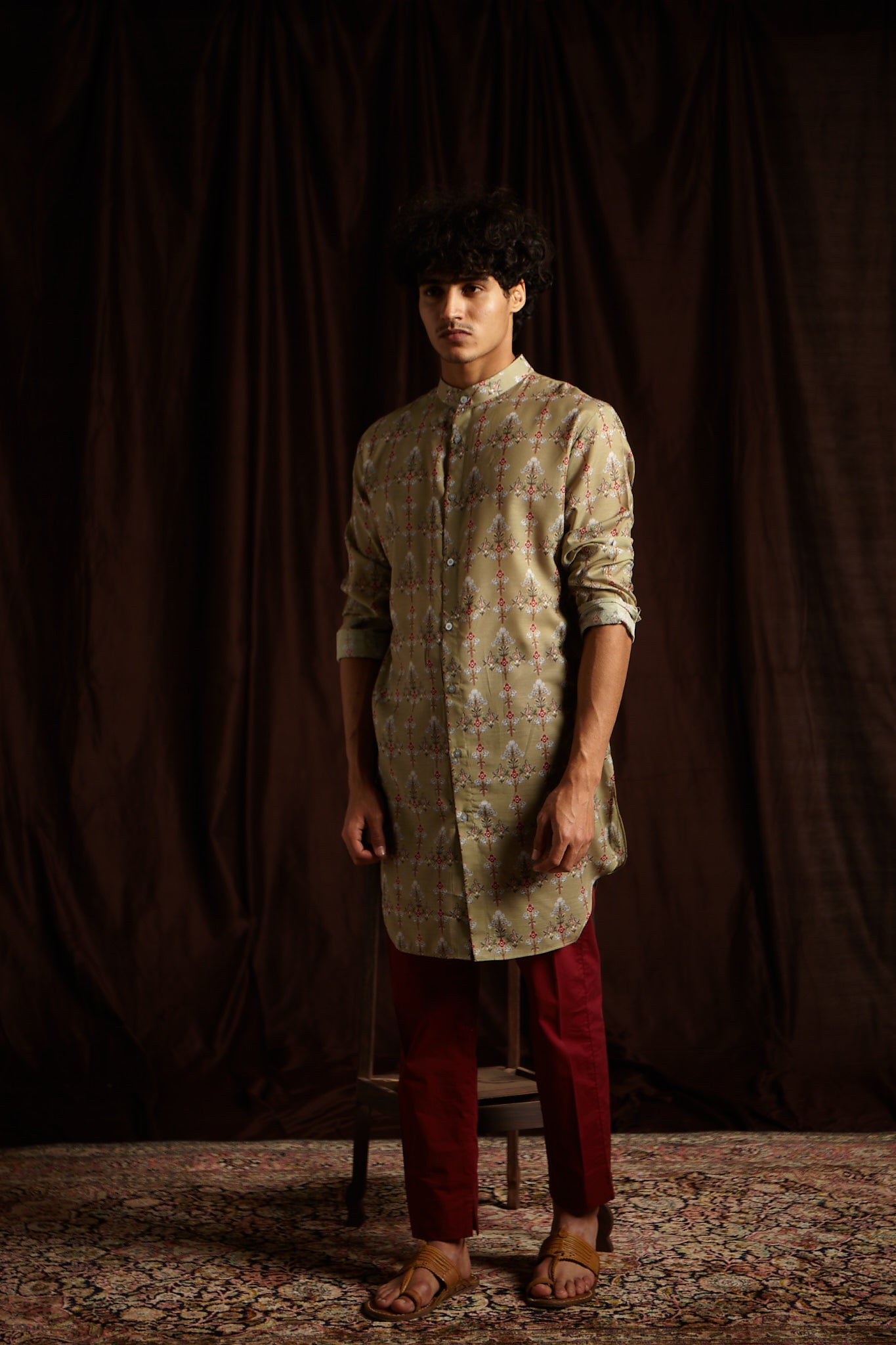 The Poison Ivy Cotton Kurta with Berry Pajama set