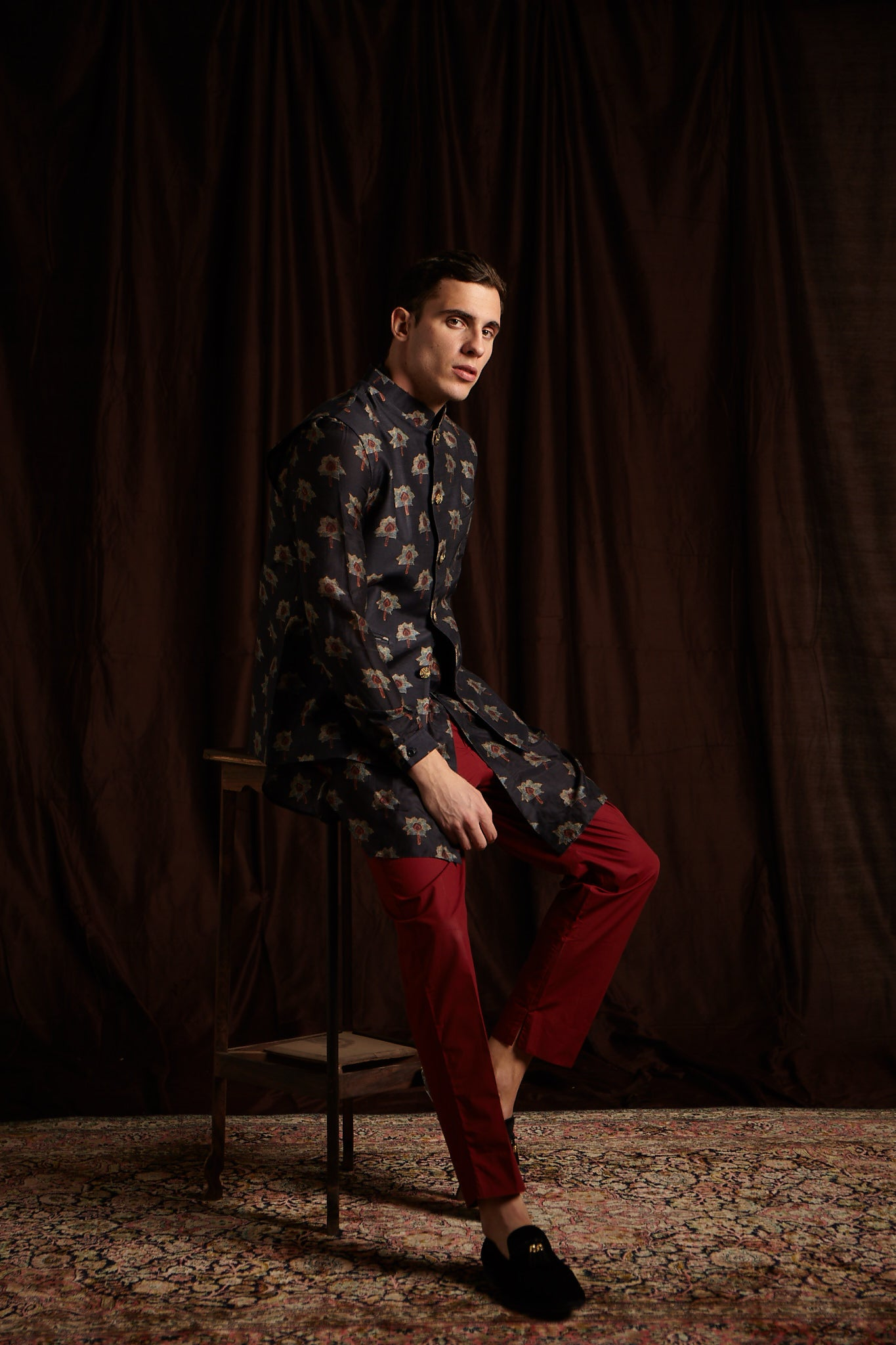 The Kamal Cotton Kurta and Berry Pajama set with matching Bandi