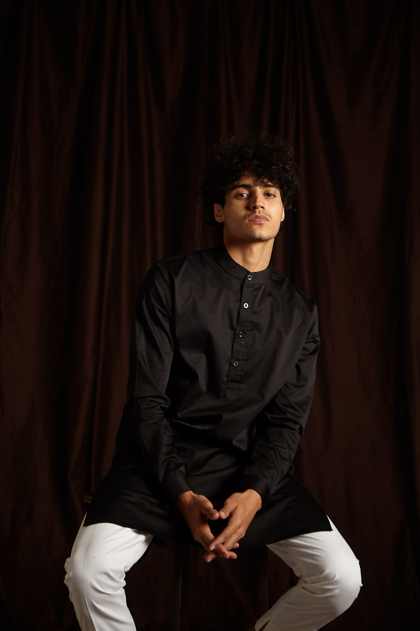 The Black Cotton Kurta Pajama Set