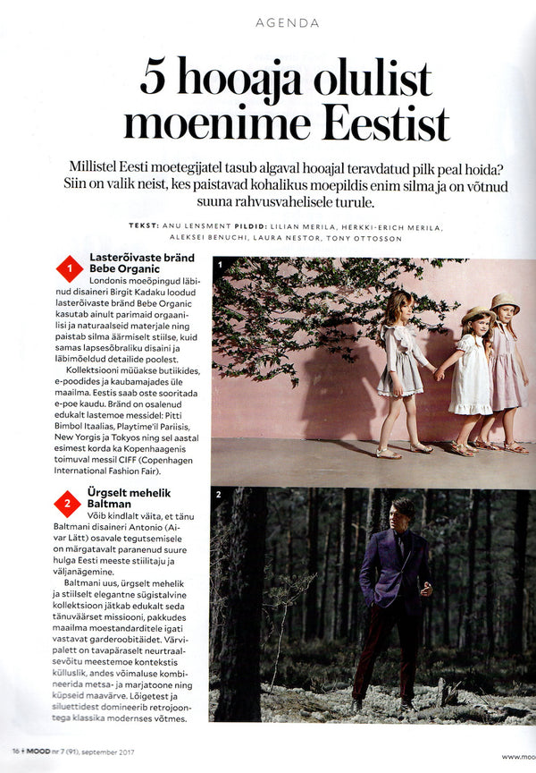 Bebe Organic featured MOOD Estonian fashion magazine September issue
