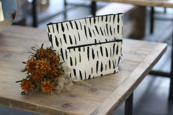 Monochrome fabric pouches