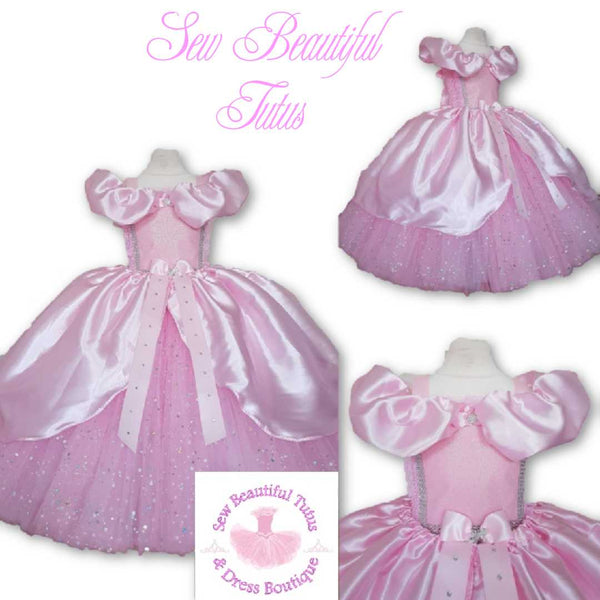Pink Cinderella inspired Sparkle Ballgown with satin overlay
