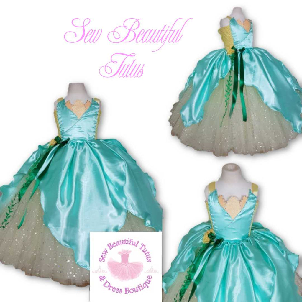 Tiana inspired Sparkle Ballgown with satin overlay