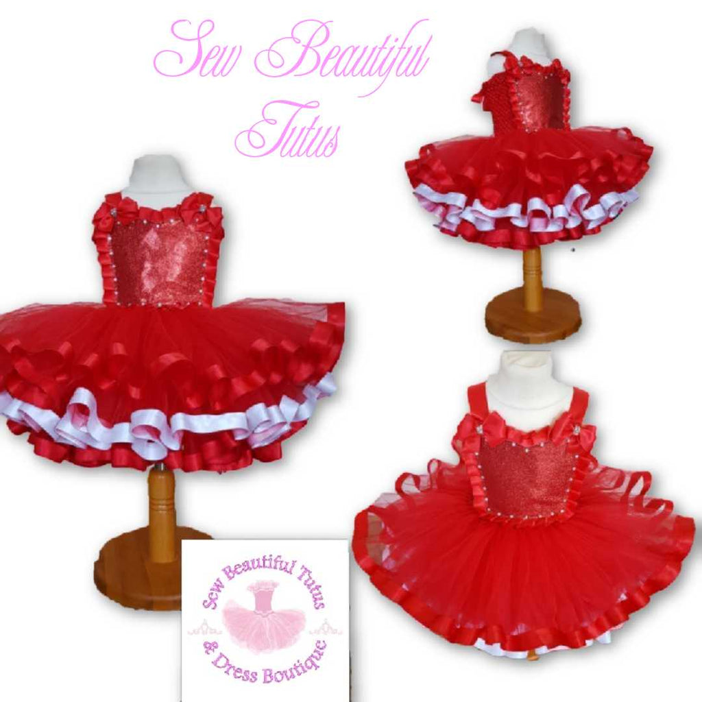 Red and White Ribbon Trimmed Tutu Dress - Plain Tulle