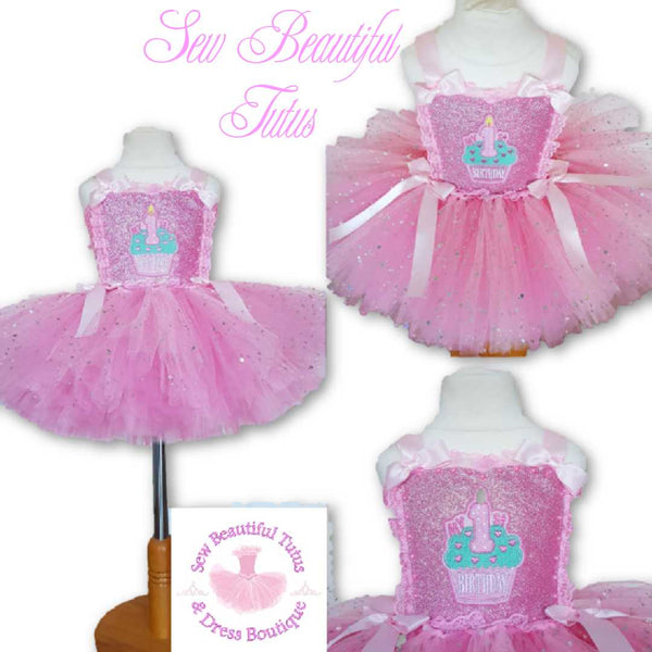 Pink cupcake 1st Birthday Sparkle Tutu Dress