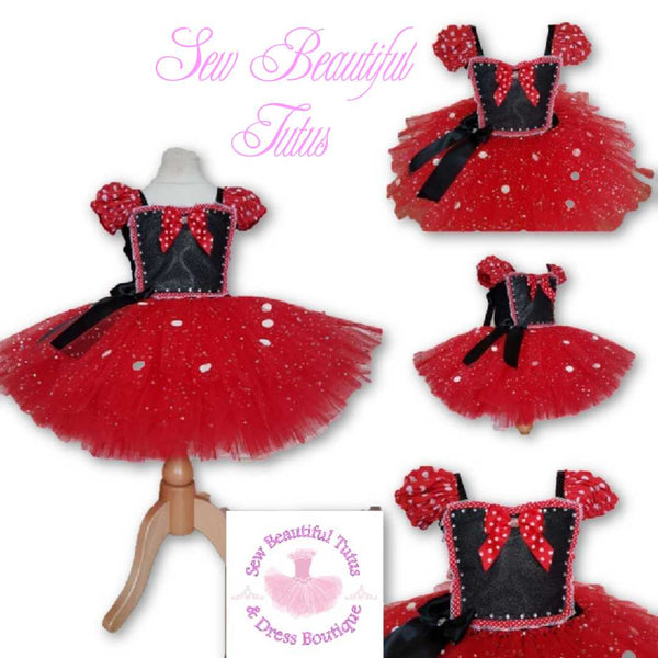 Black and Red Polka inspired Sparkle Tutu Dress