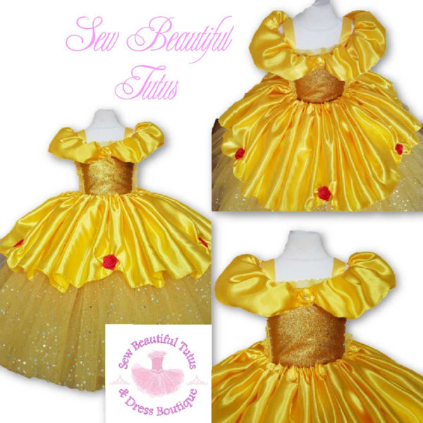 Belle inspired Sparkle Ballgown with satin over skirt (red rose)