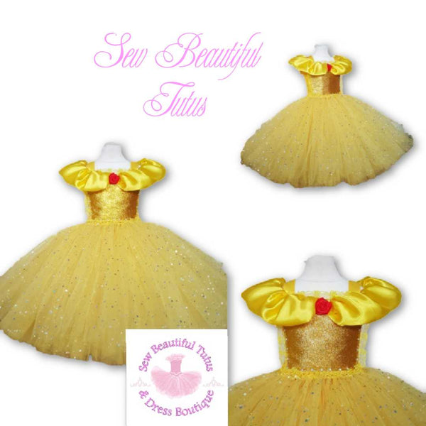 Belle inspired Sparkle Ballgown (red rose)