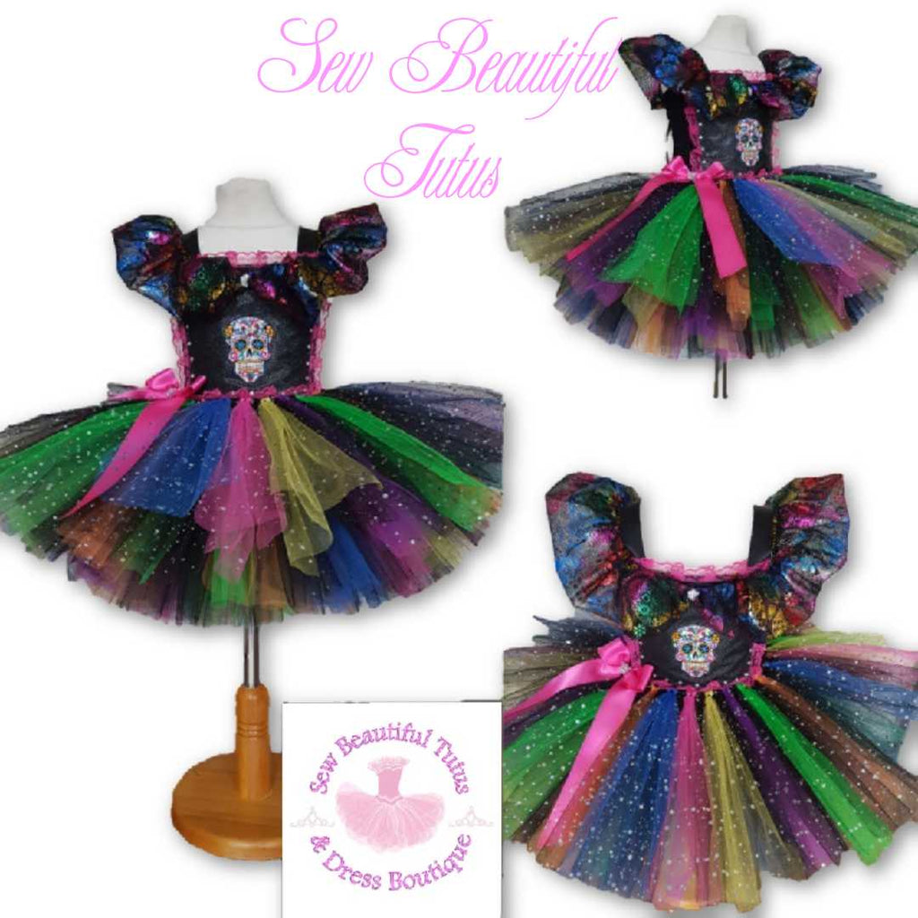 Candy Skull inspired Sparkle Tutu Dress