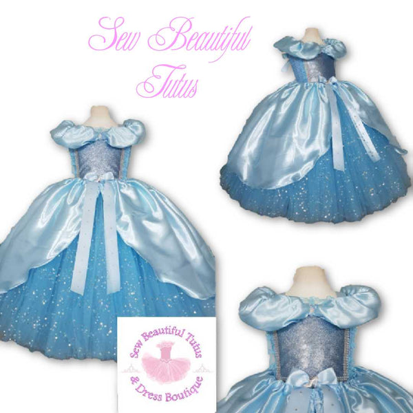 Cinderella inspired Sparkle Ballgown with satin overlay (off shoulder)