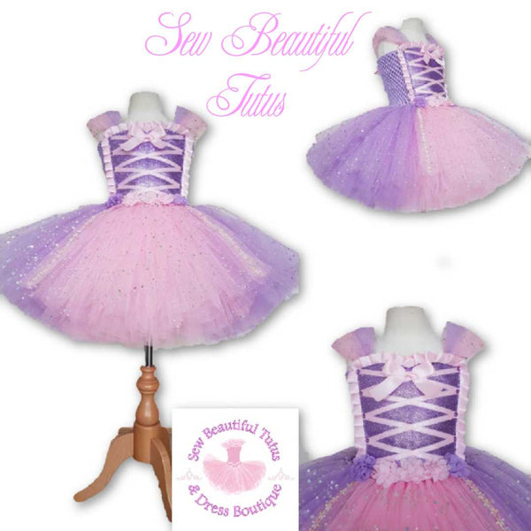 Rapunzel inspired Sparkle Tutu Dress (flower trim)