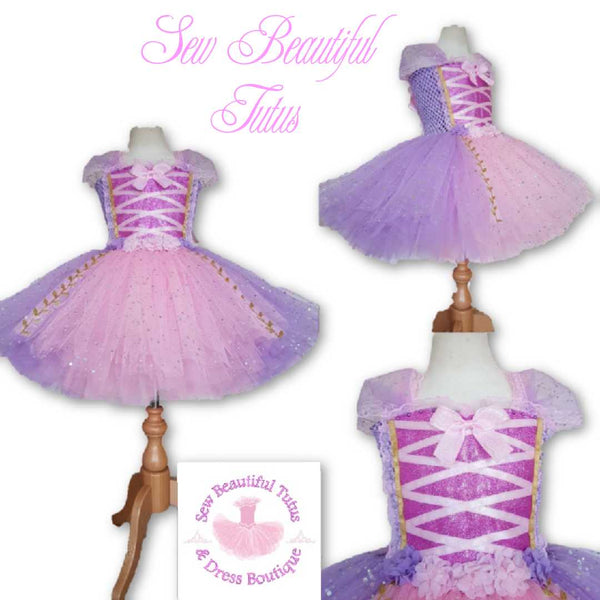 Rapunzel inspired Sparkle Tutu Dress (gold leaf trim)