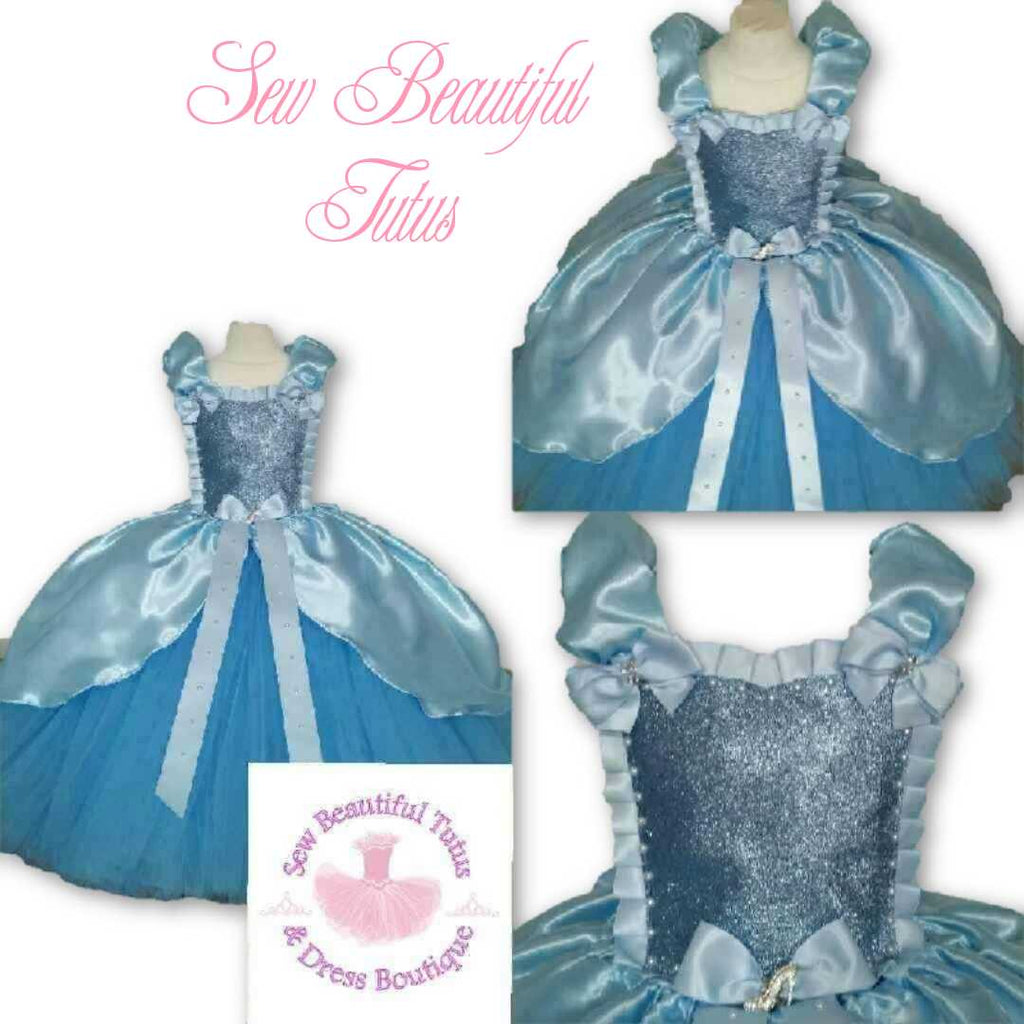 Cinderella inspired Ballgown with Satin Overlay - Plain Tulle