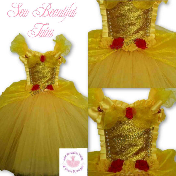 Belle inspired Ballgown with Organza Overlay - Plain Tulle