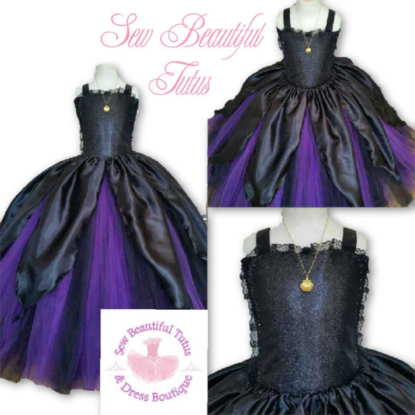 Sea Monster inspired Ballgown with Satin Overlay - Plain Tulle