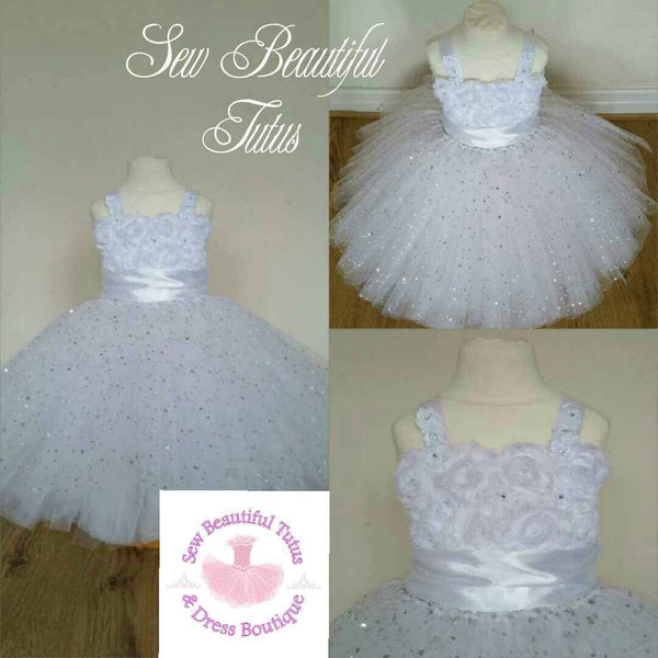 White sparkle Flower Girl Dress with Sash