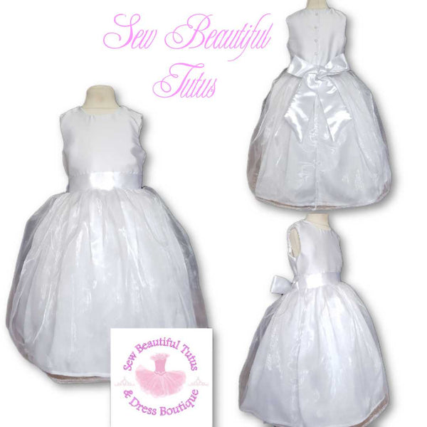 Available Now - White Satin & Organza Flower Girl Dress Age 3yrs (SLIGHT FLAW SEE PHOTO 9)