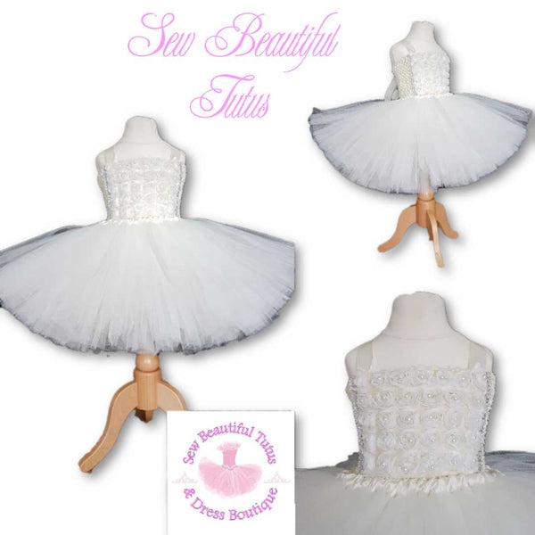 Available Now - 3D Flower & Pearl Ivory Tutu Dress Age 2-3yrs