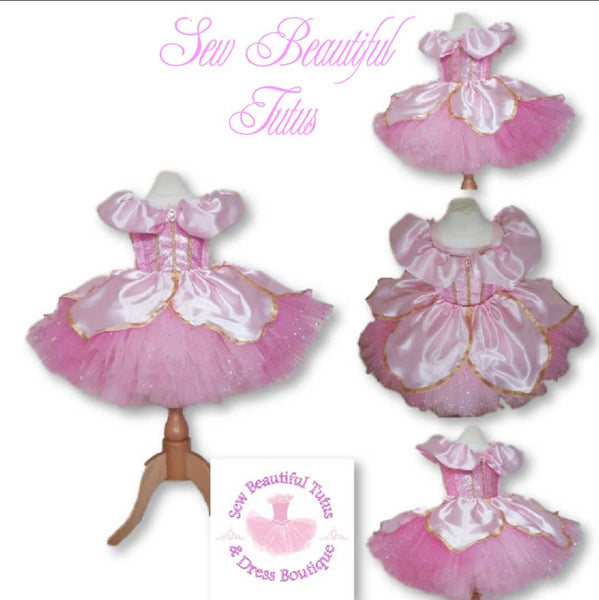Aurora inspired Sparkle Tutu Dress with satin overlay