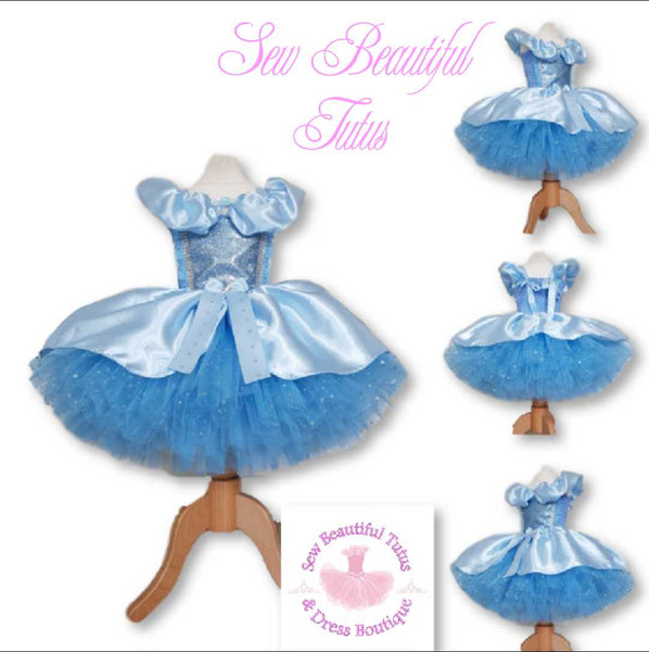 Cinderella inspired Sparkle Tutu Dress with satin overlay