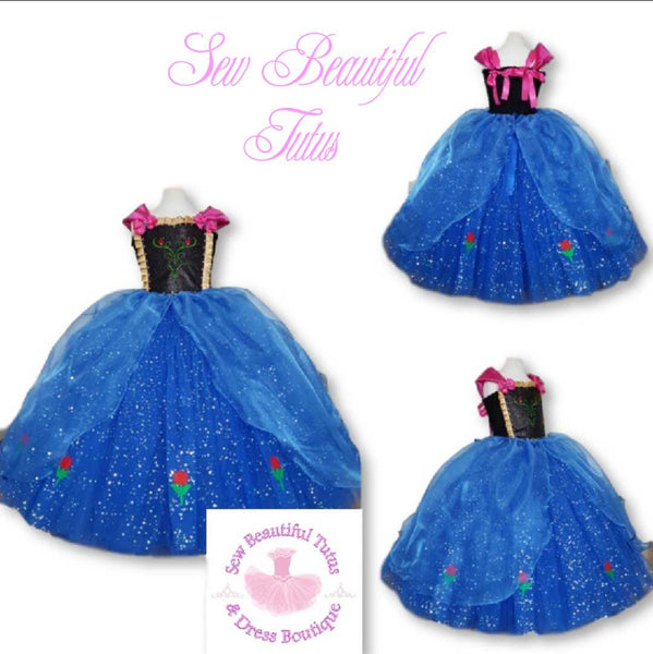 Snow Sister inspired Sparkle Ballgown with organza overlay