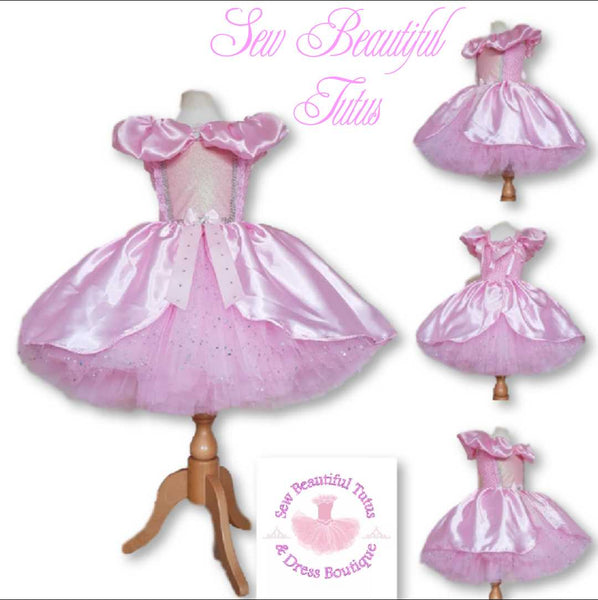 Cinderella inspired Pink Sparkle Tutu Dress with satin overlay