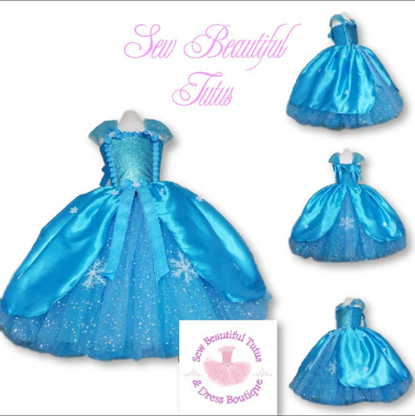 Snow Queen inspired Sparkle Ballgown with satin overlay
