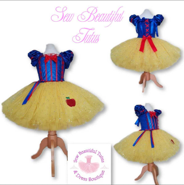 Snow White inspired Sparkle Tutu Dress with puffy shoulders