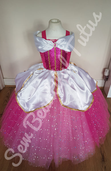 Aurora (Fuchsia) inspired Sparkle Ballgown with satin overlay